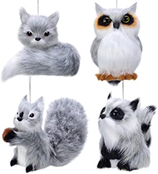 Owl Woodland  Christmas Tree Ornament gray faux fur