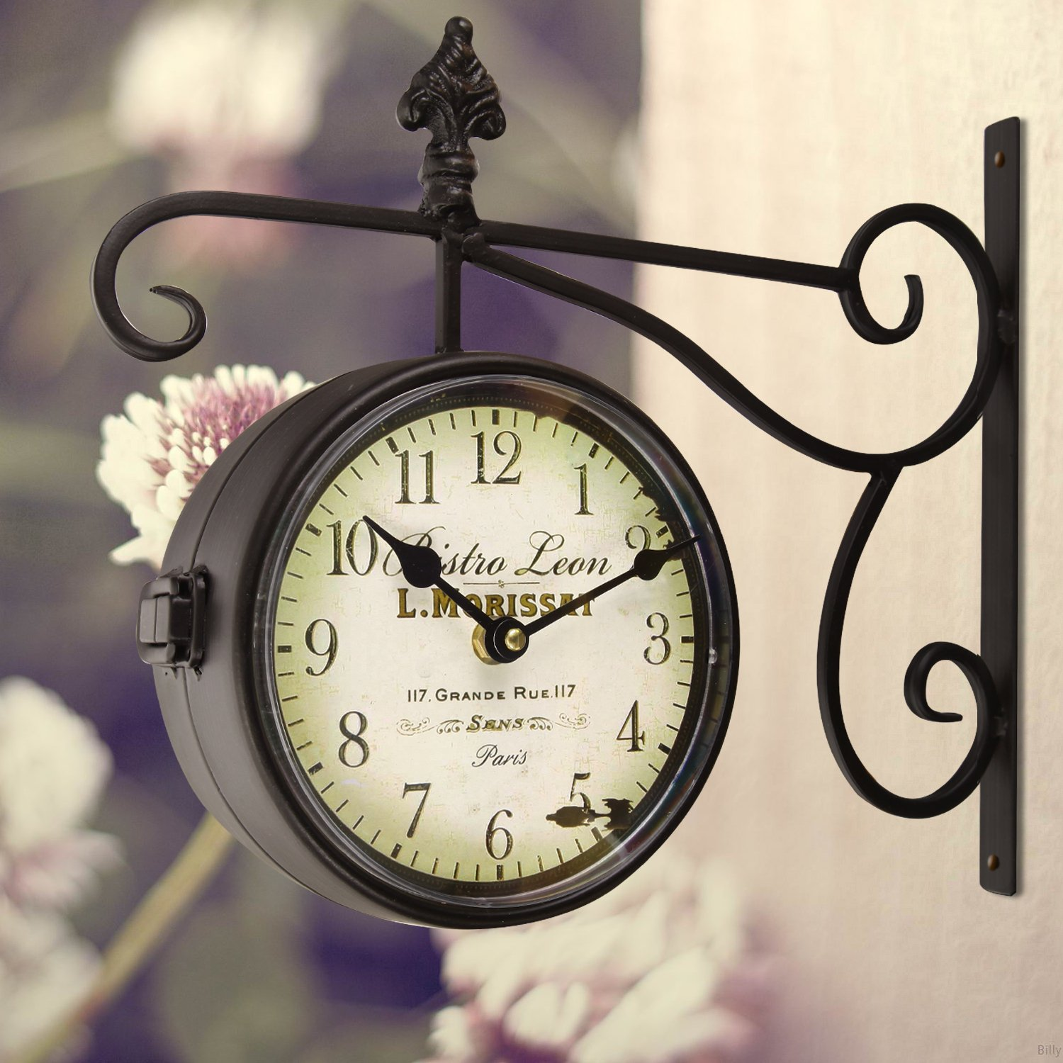 Adeco Black Iron Round Double-Sided Wall Hanging Clock with Scroll and Fleur de Lis Wall Mount ''Bistro Leon'' Home Decor