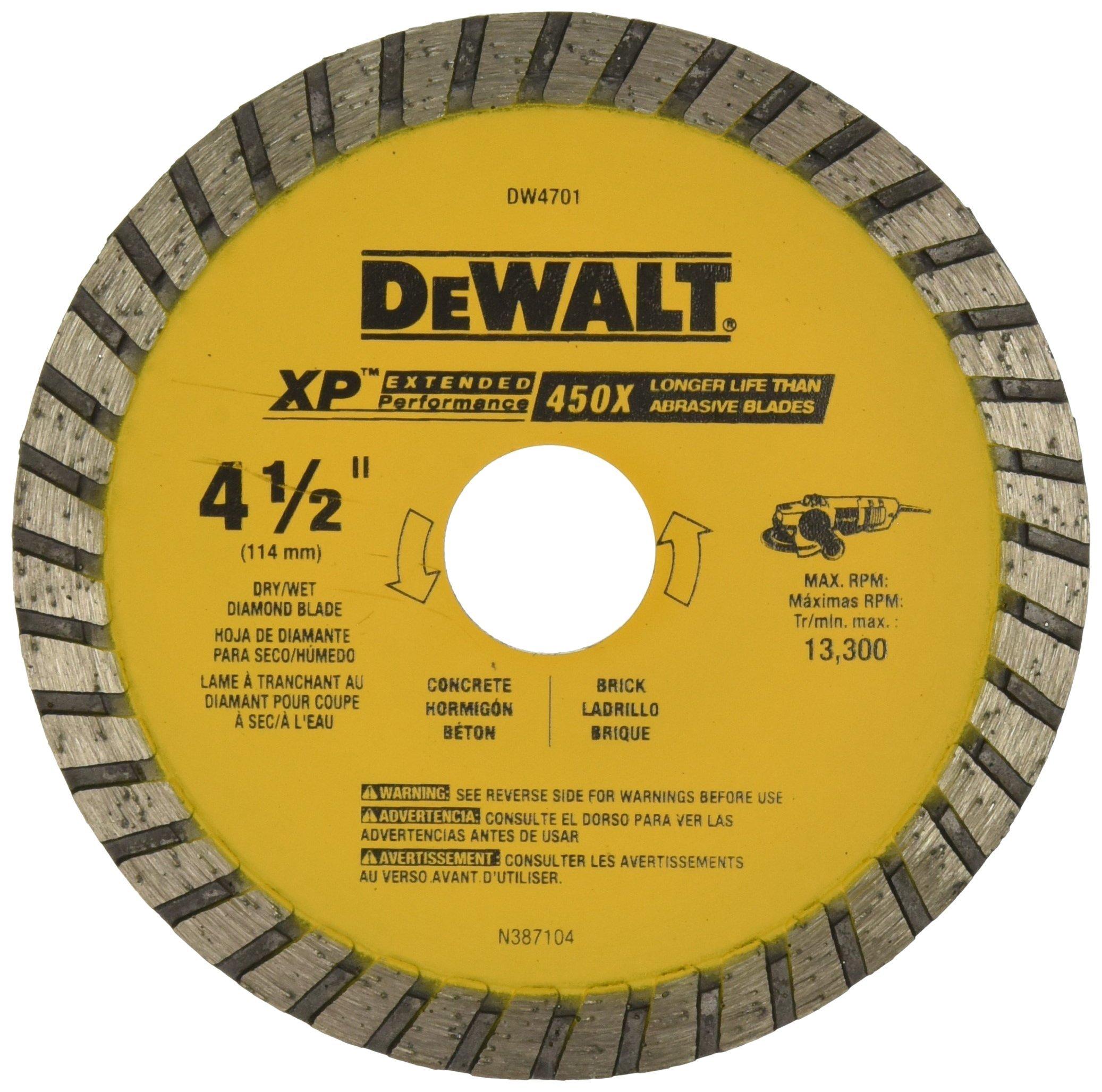 Disco de Diamante DEWALT DW4701B Disco turbo diamante de 4-1/2 pulg. XP