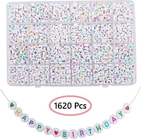 Chiffre 0 Perle acrylique numérique de 10 x 10 mm Lot de 10 perles Blanc