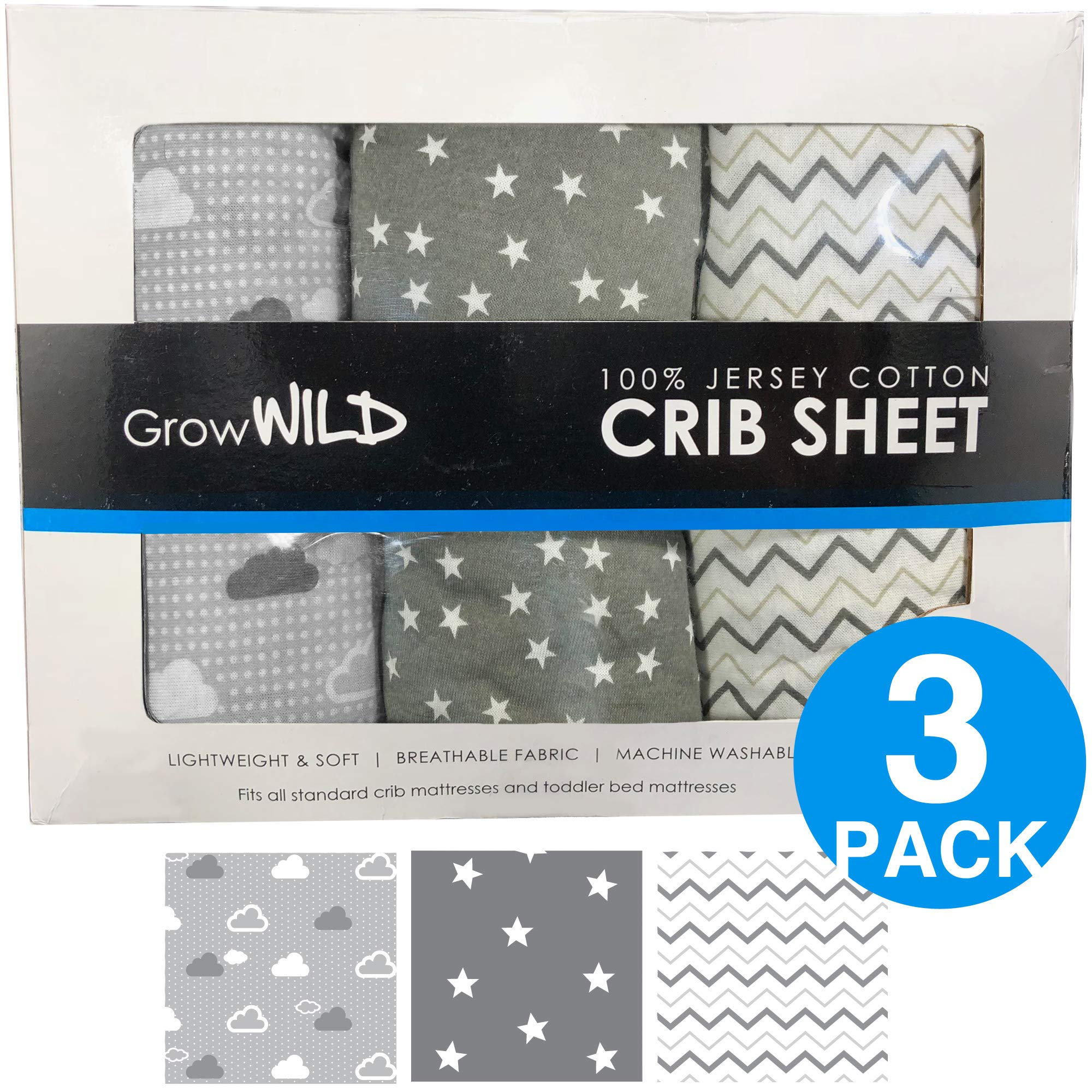 Premium Crib Sheets 3 Pack | Jersey Cotton Fitted Sheets for Boy or Girl | Standard Baby or Toddler Bed Mattress | Grey Clouds, Stars, Chevron