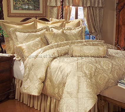 Amazoncom 14 Piece King Gold Imperial Comforter Set Wcurtain Set