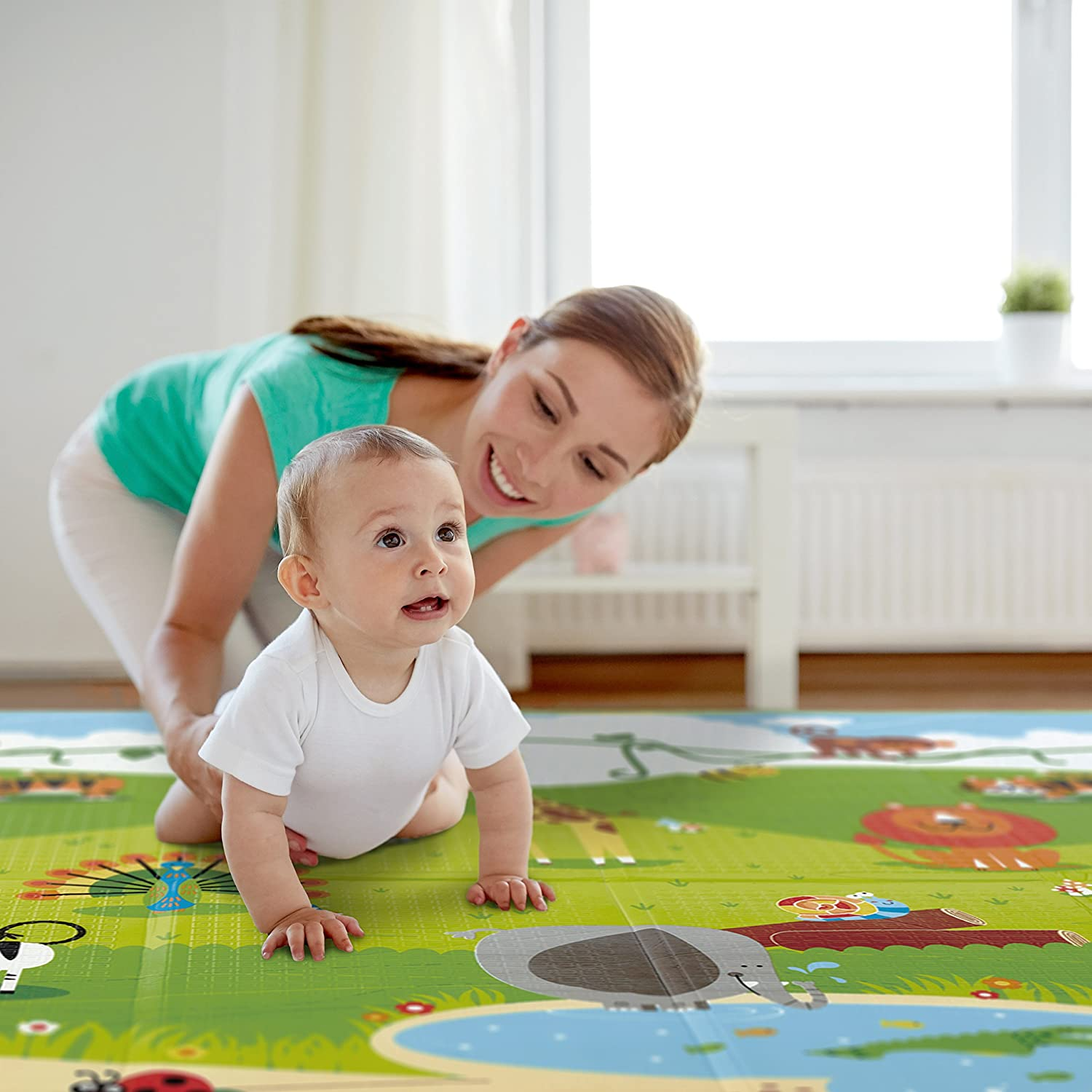 Amazon.com : Hape Baby FOLDING Play Mat For Floor | Reversible Thick, Extra  Large Foam Playmat Encourages Learning, Non Toxic, Printed, Colorful |  Ideal For ...