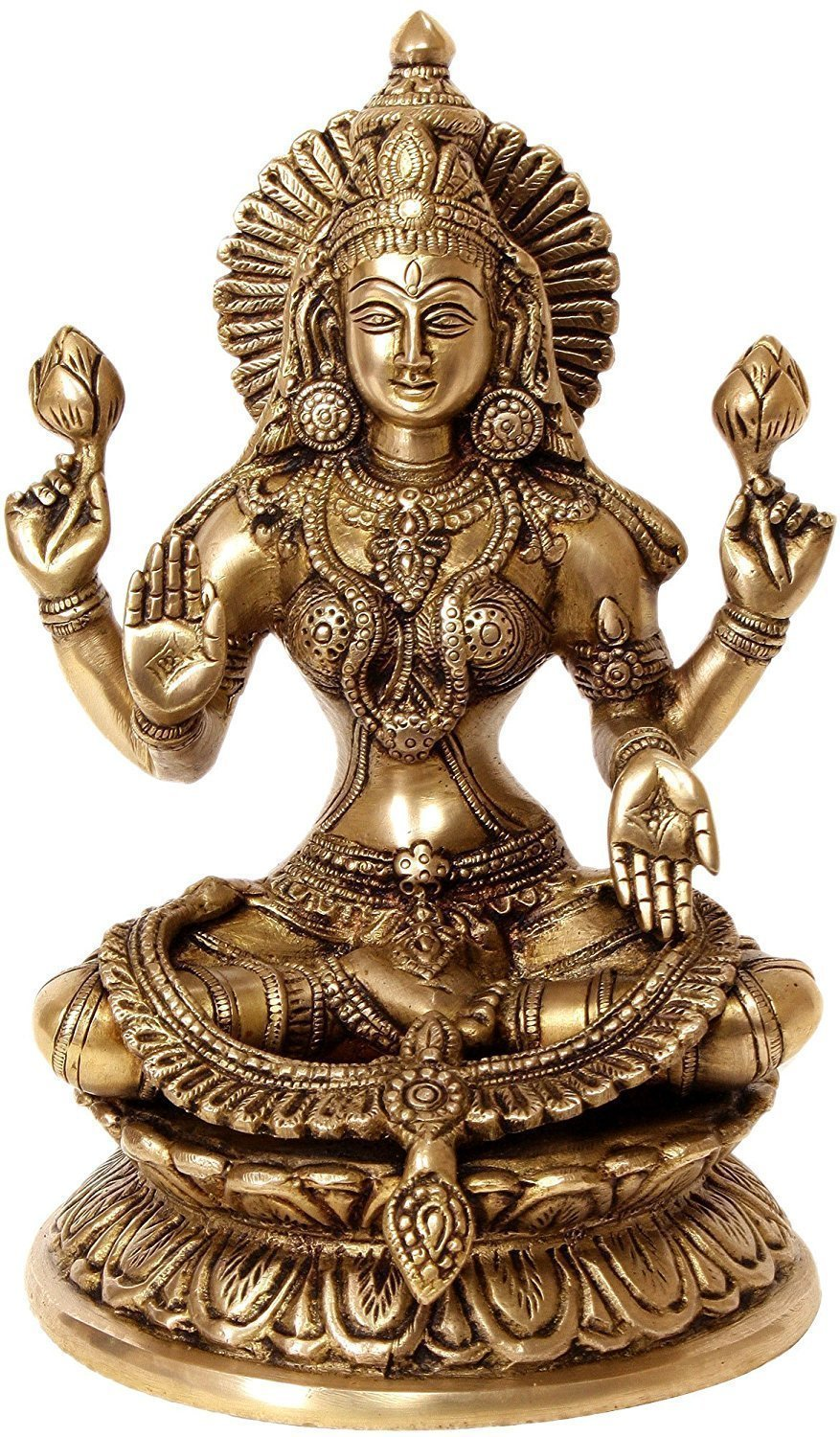Aone India Large 9'' Laxmi Statue Goddess Brass Lakshmi Hindu Idol Religious Metal Gift Home Decor + Cash Envelope (Pack Of 10)