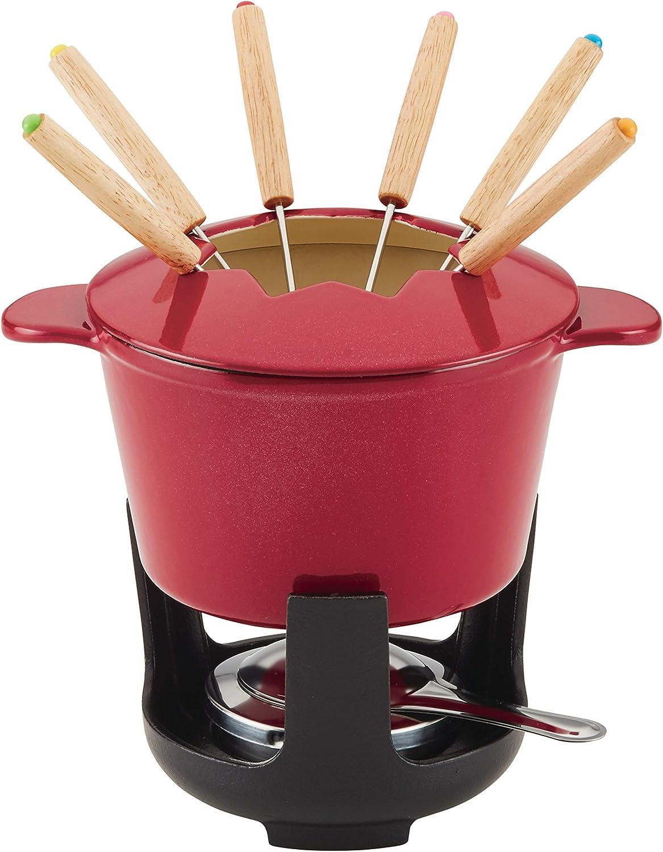 Rachael Ray 1.5-Qt Cast Iron Fondue Set, Quart, Red Shimmer