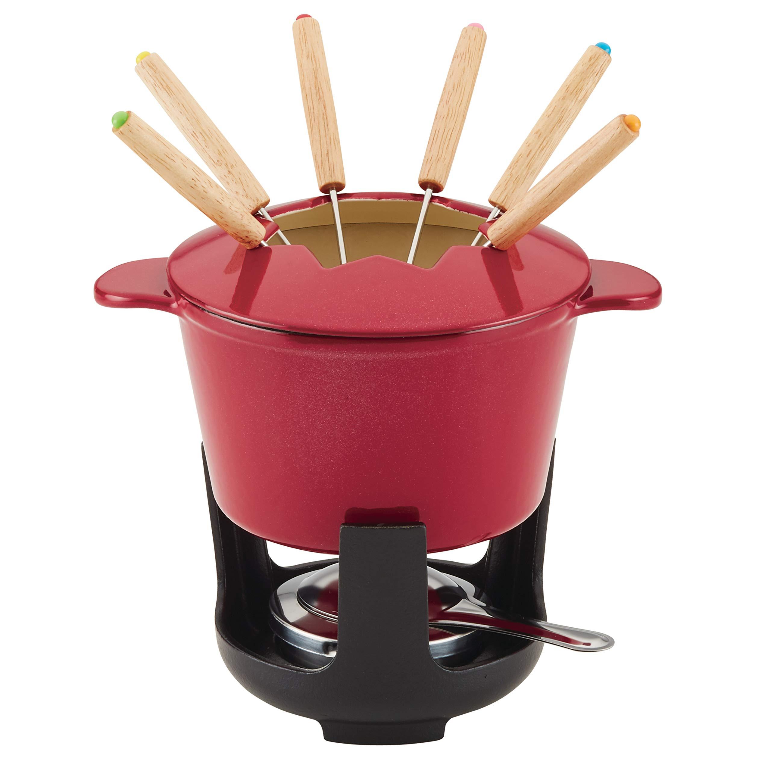 Rachael Ray 47870 1.5-Qt Cast Iron Fondue Set, Quart, Red Shimmer by Rachael Ray