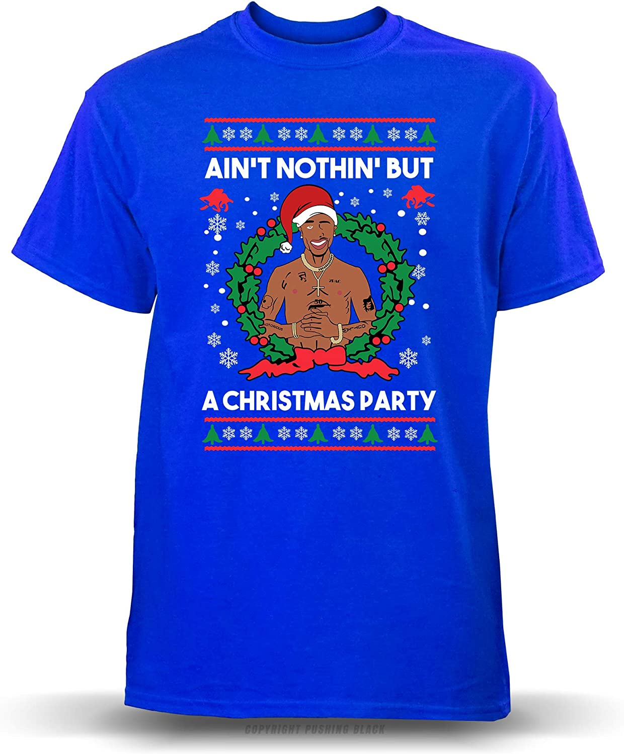 PUSHING BLACK Aint Nothing But a Christmas Party Youth T-Shirt , Small Blue Gildan