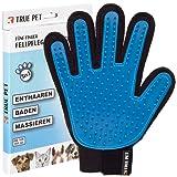 TRUE PET - Fellpflege Handschuh für Hund, Katze & Hase - Enthaaren, Baden & Massieren   Fellbürste für sensible Haut   Hundebürste & Katzenbürste für Mittel- & Kurzhaar   Fellkamm Striegel