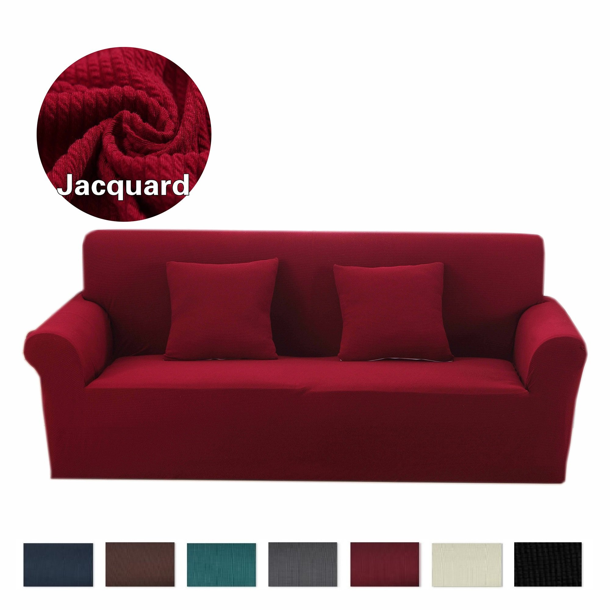 Argstar Premium Knit Loveseat Slipcover Elastic Cover Home Decor Wine Red Furniture Protector