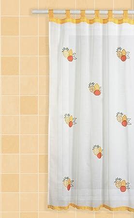 pareja de visillos de cocina para ventana con trabillas y motivos ideales bordados comprar y