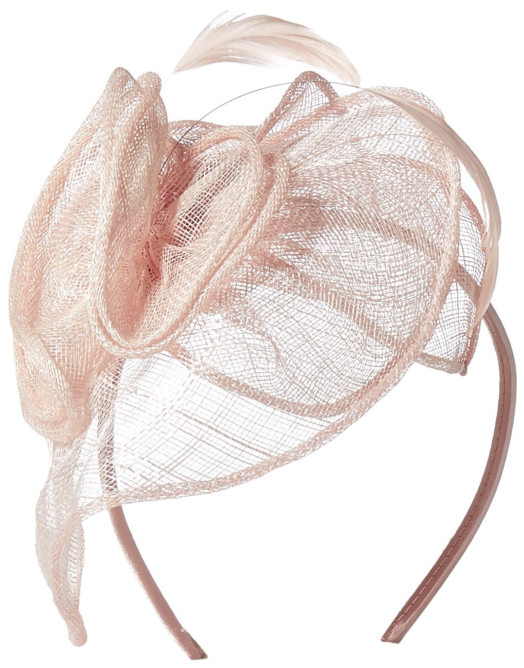 San Diego Hat Company Women's Fasinatior Hat with Rosette and Feathers, Blush, One Size by San Diego Hat Company