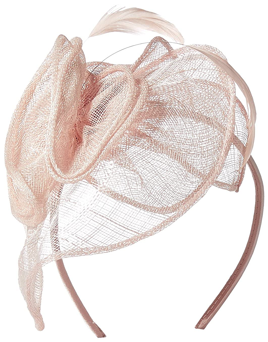 San Diego Hat Company Women's Fasinatior Hat with Rosette and Feathers Blush One Size DRS1006