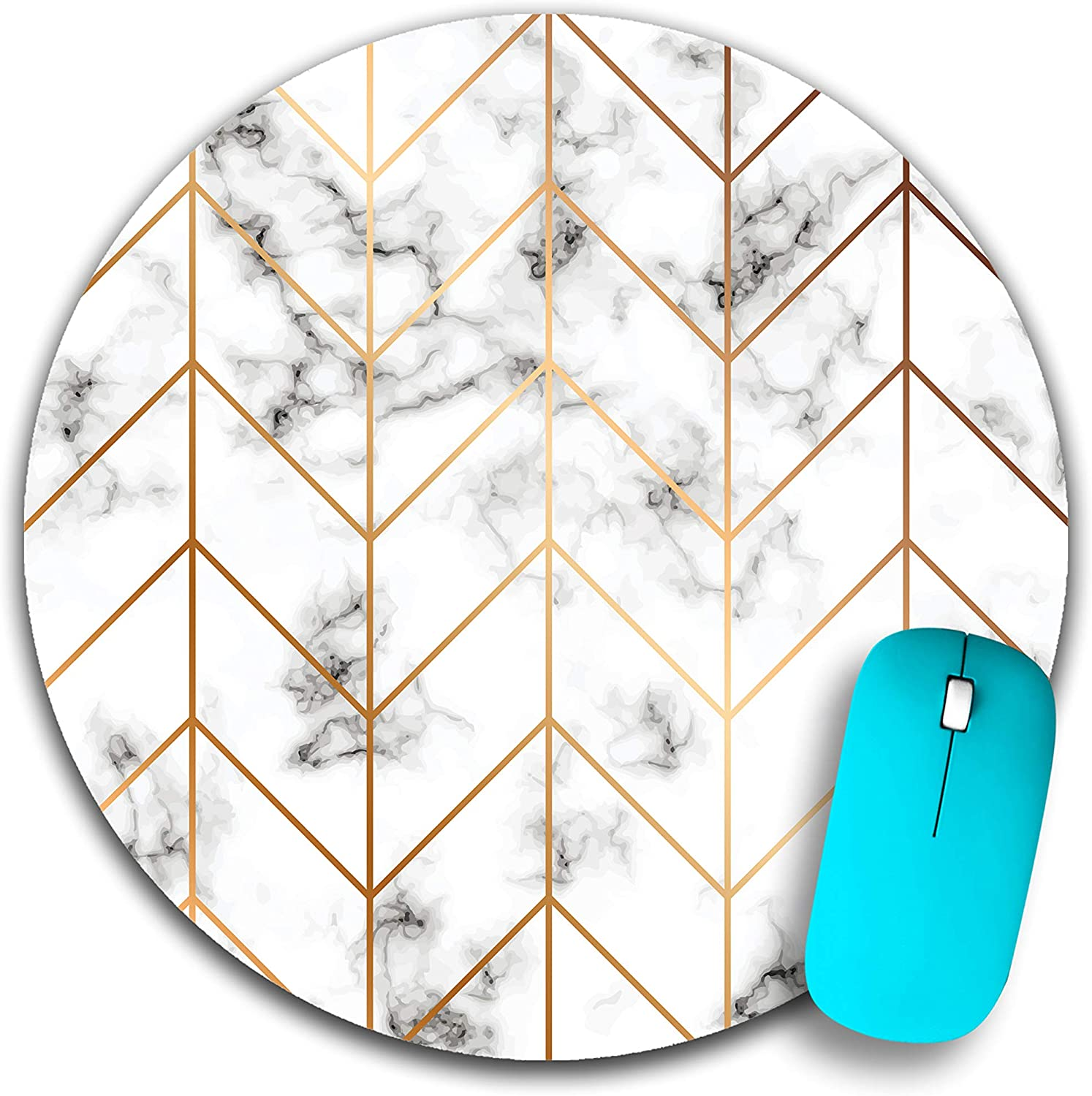 Round Marble Texture Mouse Pad, Golden Geometric Lines Mousepad, Black and White marbling Surface Mouse pad 7.9x7.9x0.125 Inch