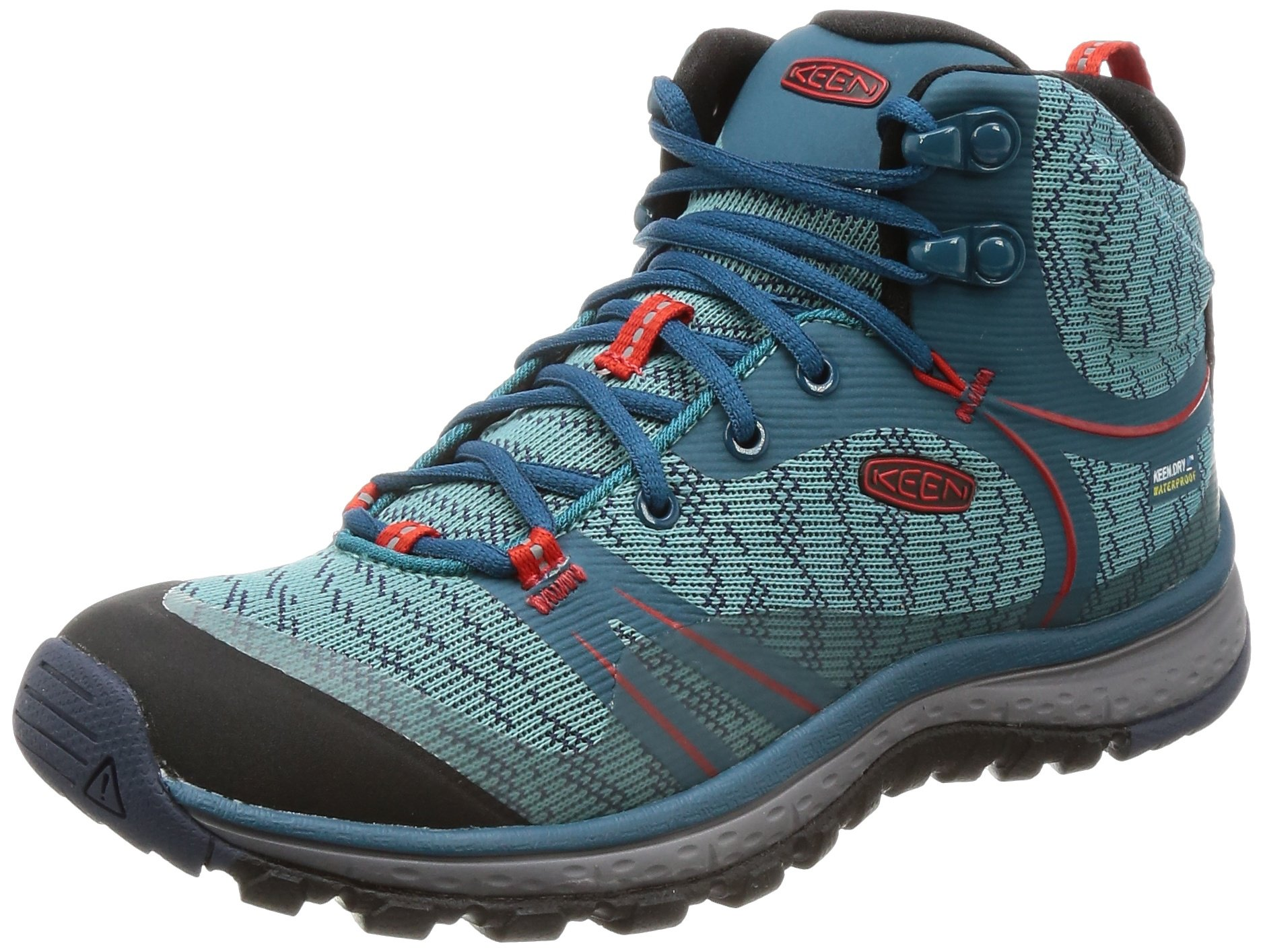 KEEN Women's Terradora Mid WP-w Hiking Shoe, Blue Coral/Fiery Red, 8 M US