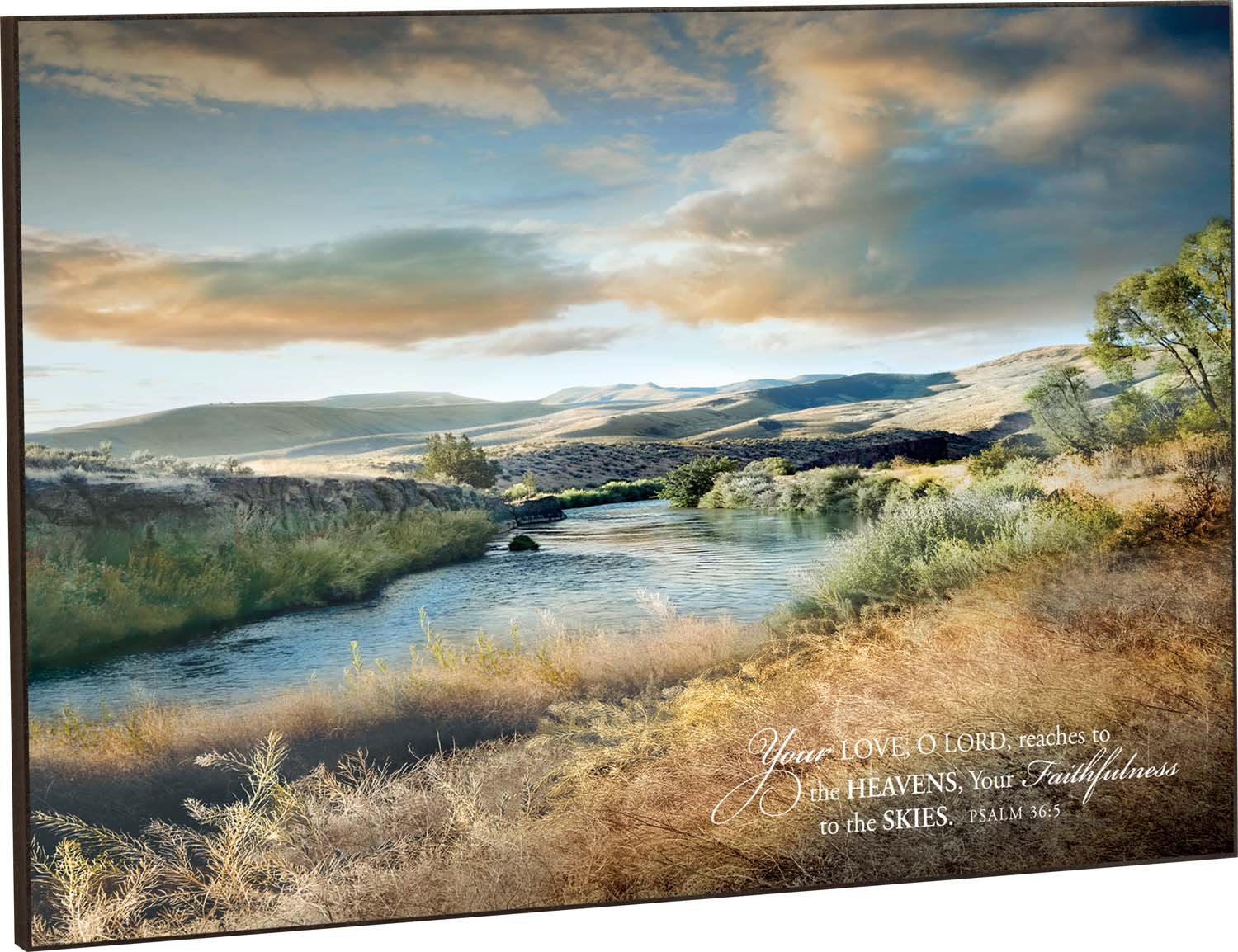 Your Love Reaches to the Heavens Mountain Stream Landscape 24 x 36 Wood Wall Art Sign Plaque by P Graham Dunn