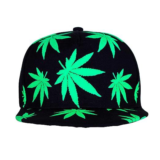 5681ba094870e Marijuana Hat Snapback Weed Leaf Baseball Cap Headwear Cannabis 420 Rasta  Adjustable Colors (Green) at Amazon Men s Clothing store