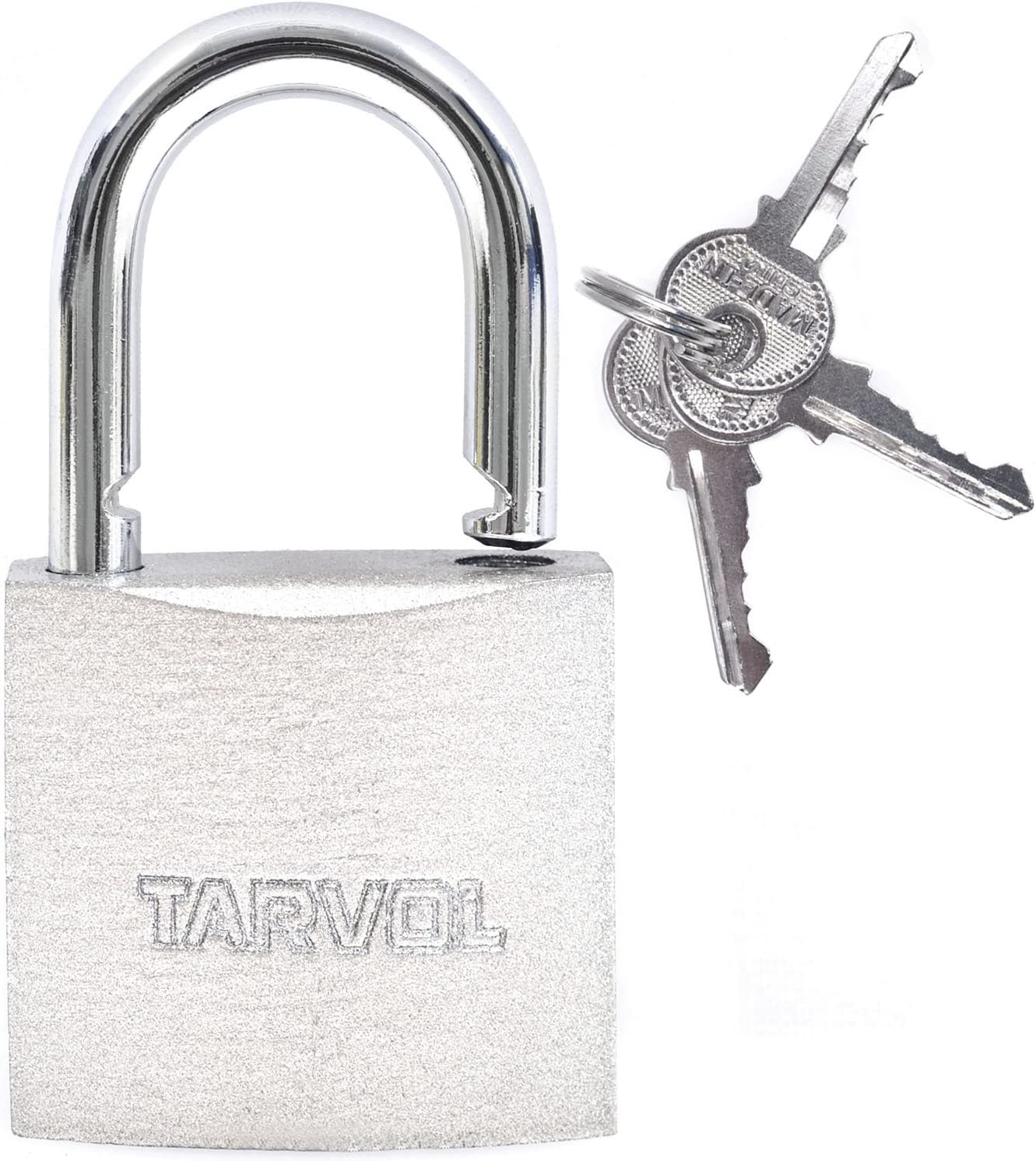 Steel Padlock with Keys (Heavy Duty Security) Safely Lock Interior or Exterior Gates, Sheds, Lockers, Bikes, Tool Box, or Containers. Includes 3 Master Keys - -
