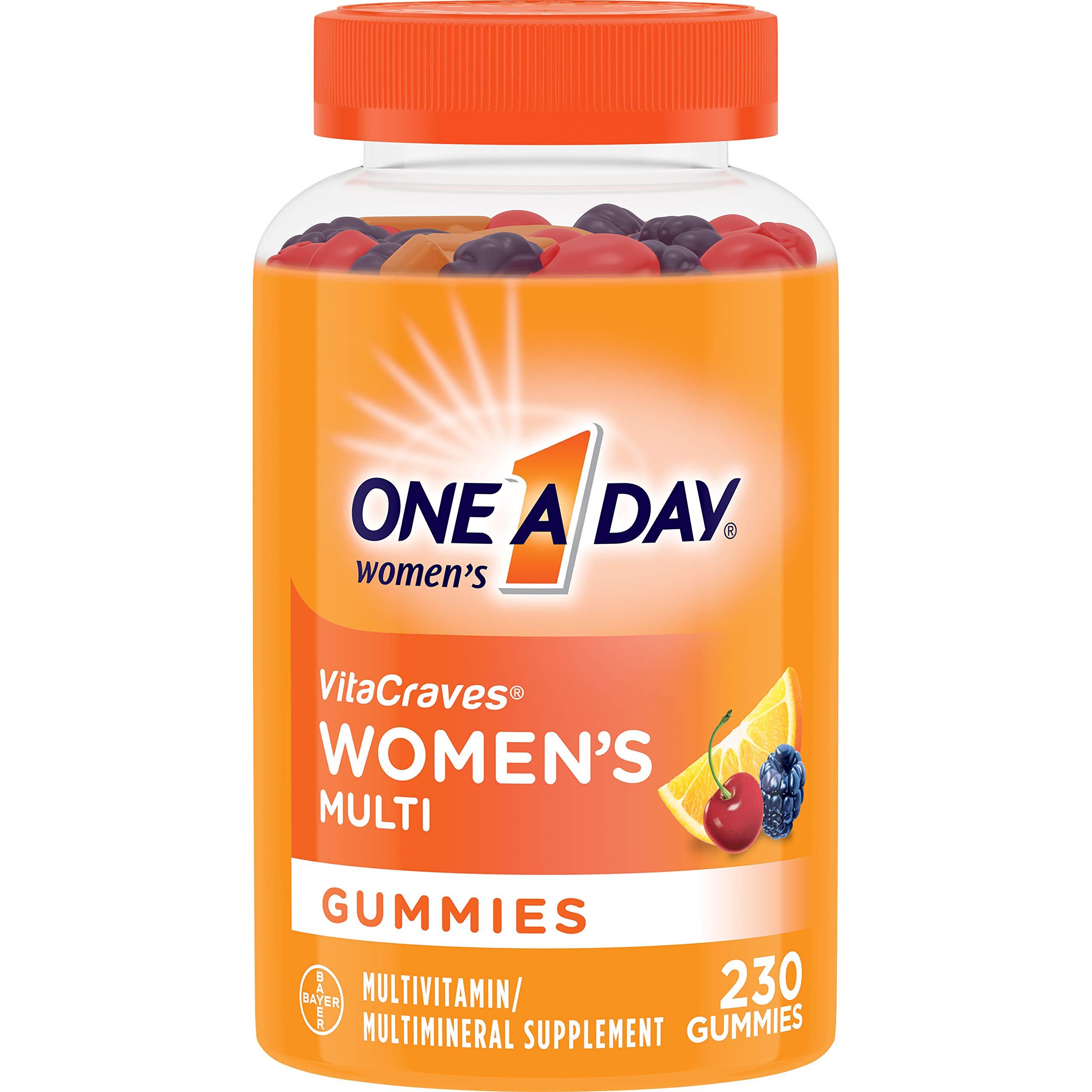 One A Day Women's Multivitamin Gummies, Supplement with Vitamin A, Vitamin C, Vitamin D, Vitamin E and Zinc for Immune Health Support*, Calcium & more, 230 count