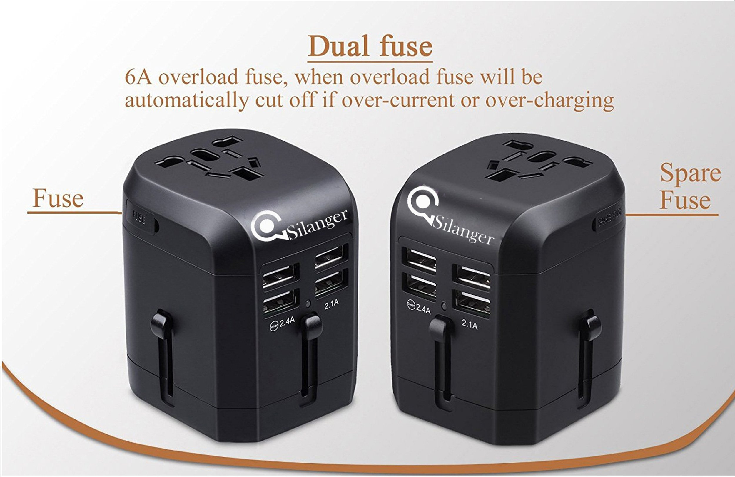 Universal USB Travel Power Adapter-Silanger All In One Wall Charger AC Power Plug Adapter For USA EU UK AUS Cell Phone Laptop Including Quad 3.5A Smart Power USB Charging Port (4X USB) by Silanger (Image #2)