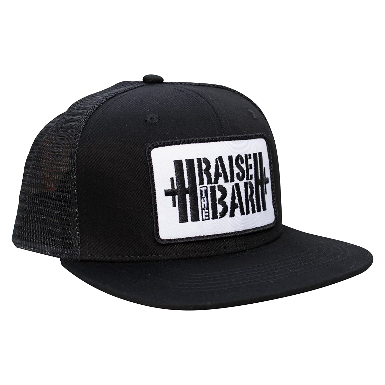c10261b135a56 Amazon.com  Jumpbox Fitness Black Flat Bill Snapback Trucker Hat - Raise  the Bar Weightlifting Patch  Sports   Outdoors