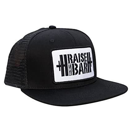 Amazon.com  Jumpbox Fitness Black Flat Bill Snapback Trucker Hat ... 7e6de659bd1