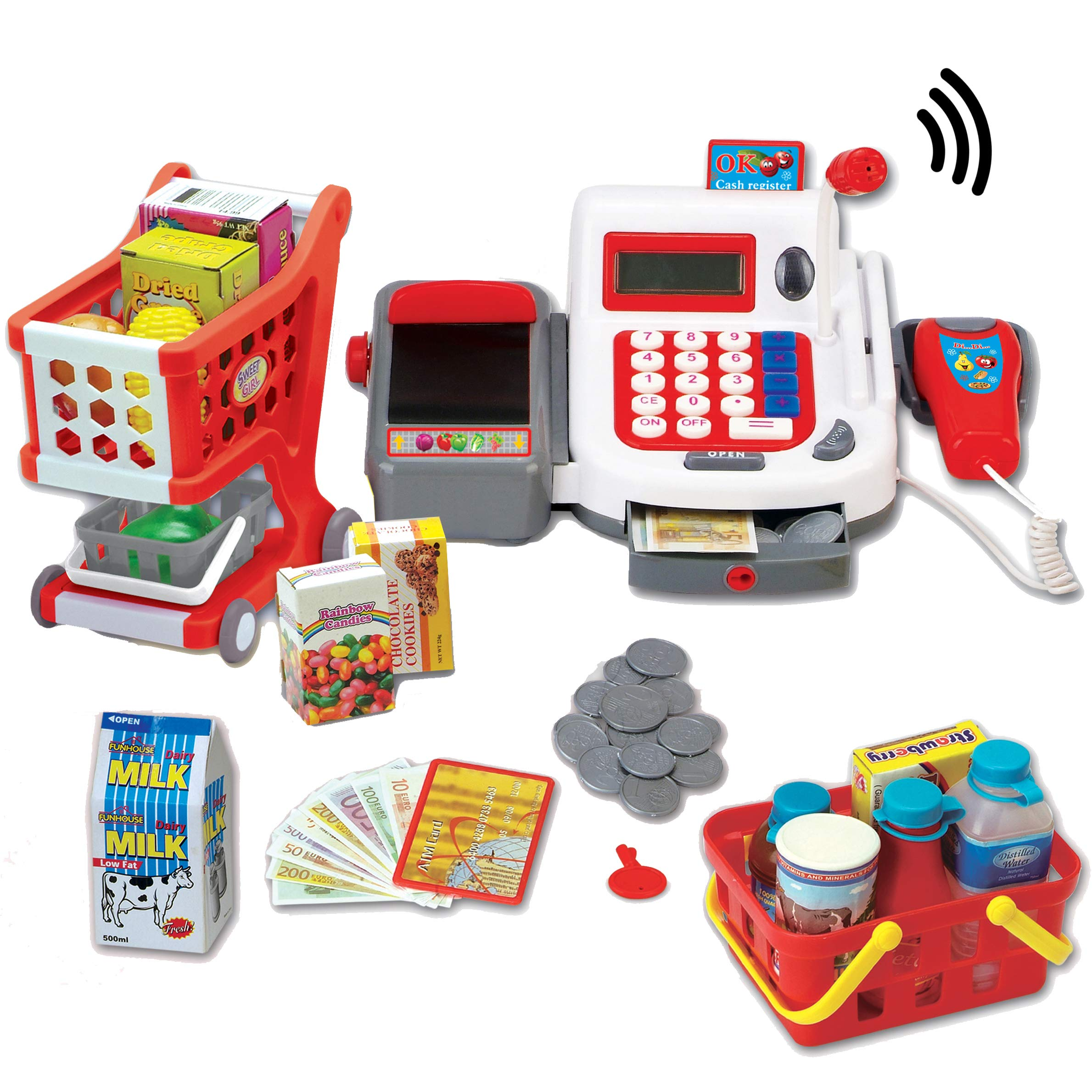 Liberty Imports Multi-Functional Educational Pretend Play Electronic Toy Cash Register with Microphone, Scanner, Scale, Calculator, Credit Card Reader, Shopping Basket and Groceries (Deluxe)