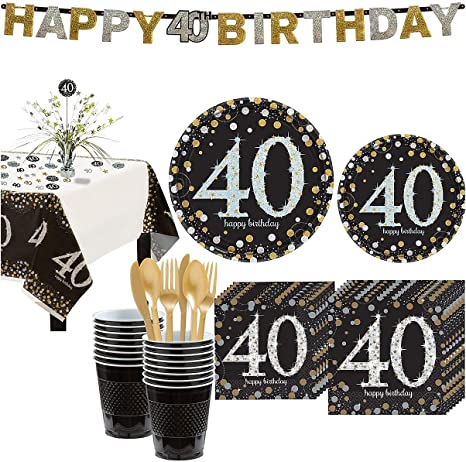 Metallic Pink Gold 40th Birthday Lunch Plates 8ct Party City