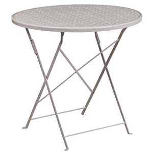 Flash Furniture 30'' Round Light Gray Indoor-Outdoor Steel Folding Patio Table