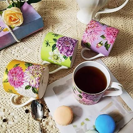 PULCHRITUDIE Tea Coffee Mug Sets Set of 4 English Style Gold Rim Bone China