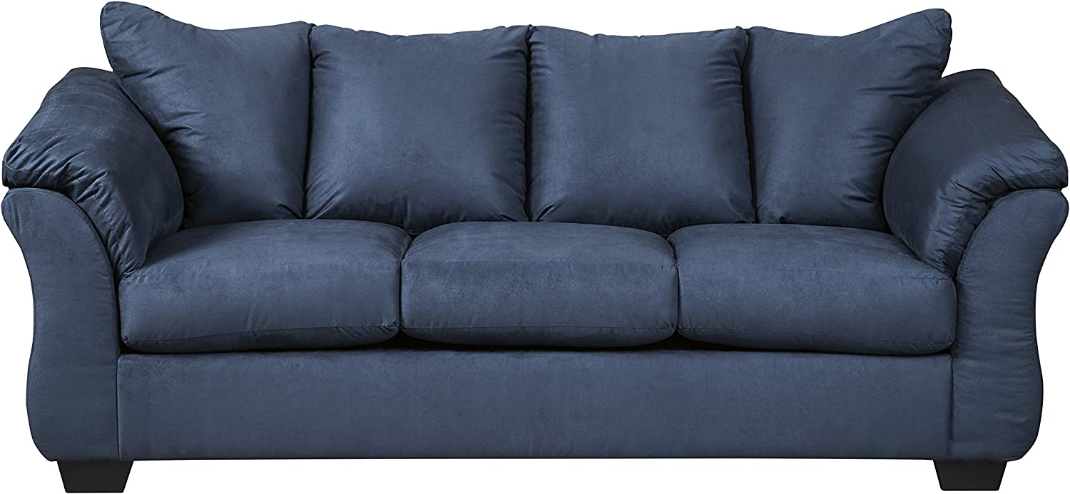 Signature Design by Ashley - Darcy Contemporary Plush Full Fize Sofa  Sleeper, Blue