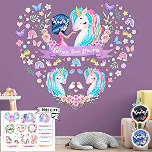 4 Sheets Large Unicorn Wall Decals for Girls Bedroom Unicorn Wall Decor Unicorn Wall Stickers Unicorn Gifts Unicorn Birthday Decorations Rainbow Wall Decal Nursery Decor for Girls Kids Room Decor