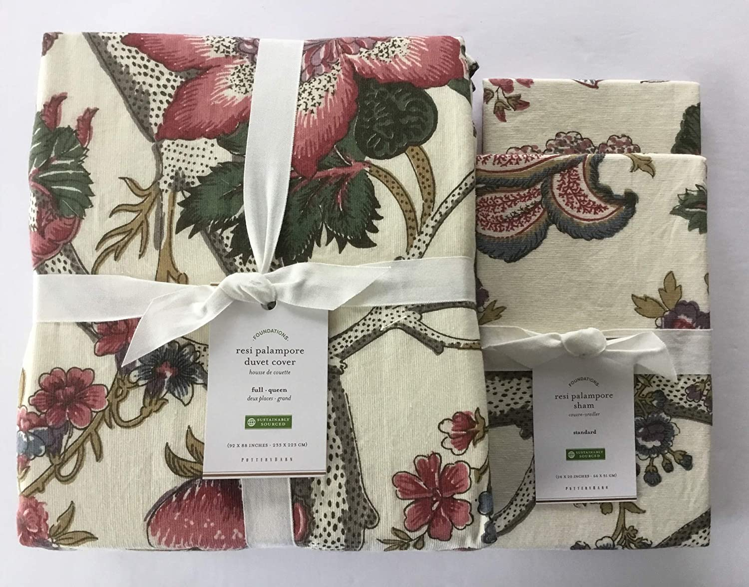 Pottery Barn Cosette Palampore floral FULL QUEEN duvet cover 2 STANDARD shams