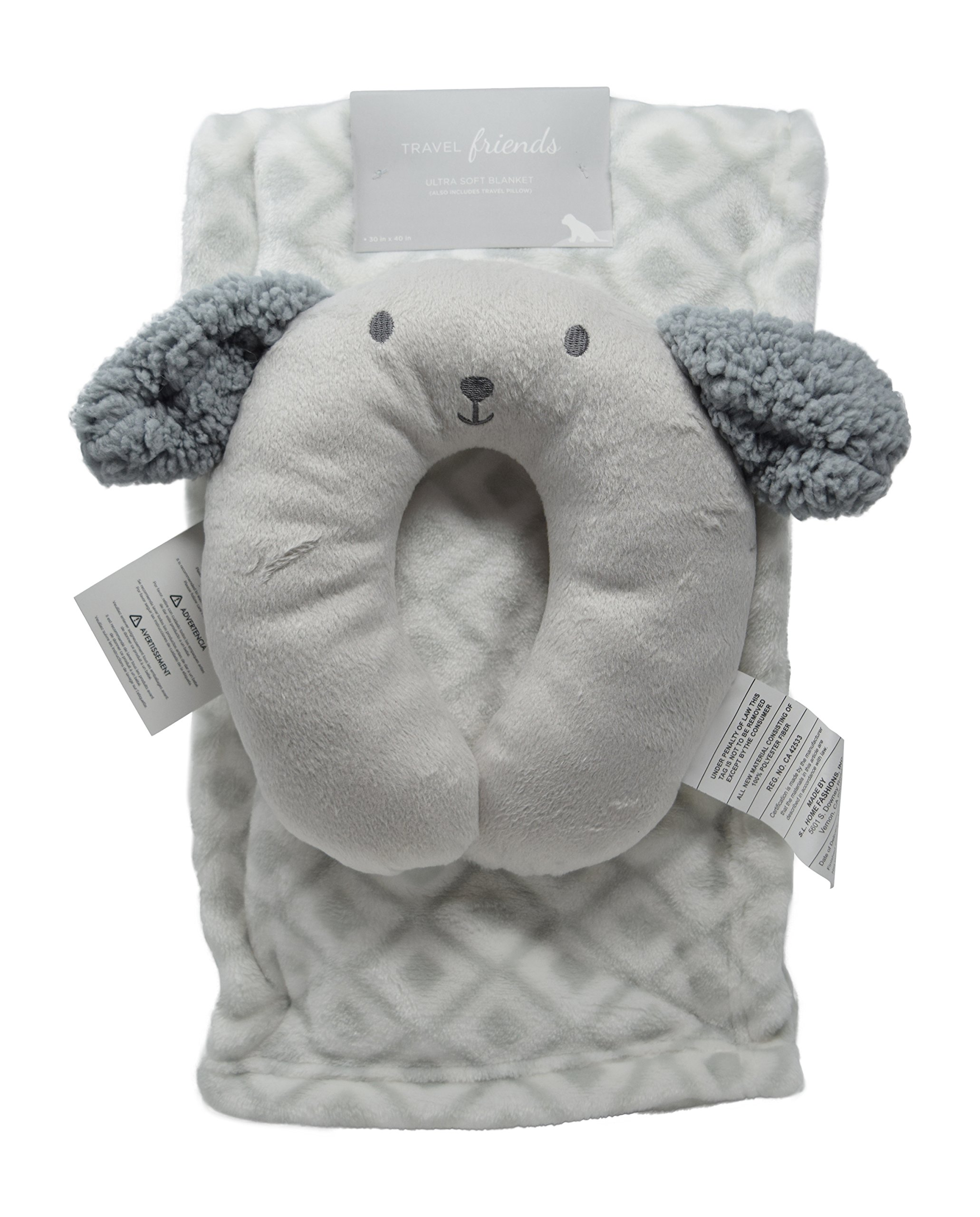 Minky Cozy Baby Blanket with Travel Puppy Dog Face Embroidered U-Pillow Unisex Options Baby Swaddling Receiving Stroller Blanket (Grey Puppy)