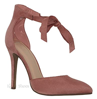 5115a504ea6 MVE Shoes Womens Stylish Strappy Self Ankle Tie Pointed Toe Low Heel Pump