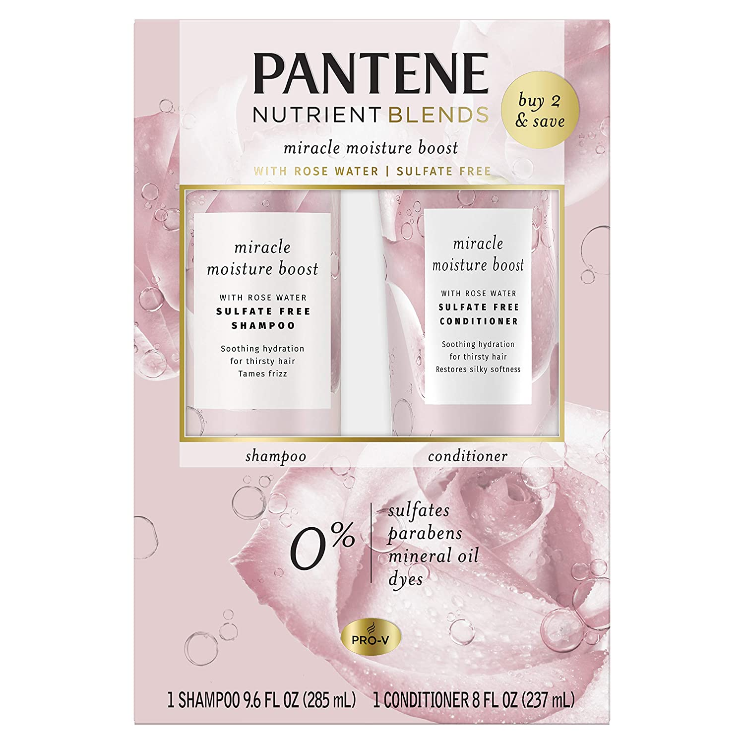 Pantene Nutrient Blends Miracle Moisture Boost Rose Water Shampoo And Conditioner Dual Pack For Dry Hair, Sulfate Free
