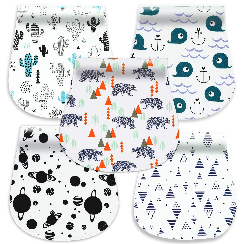 5-Pack Baby Burp Cloths, 100% Organic Cotton Soft Absorbent Burp Rags for Boys Girls by Cherub