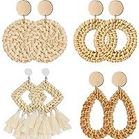 4 Pairs Rattan Earrings Lightweight Geometric Statement Tassel Woven Bohemian Earrings Handmade Straw Wicker Braid Hoop…