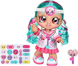 Kindi Kids Fun Time 10 Inch Doll, Dr Cindy Pops with Stethoscope and Shopkins inspired Lollipop  Changeable Clothes and Removable Shoes   For Ages 3+