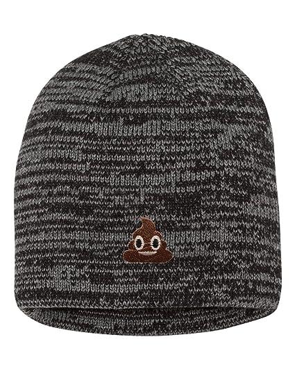 Amazon com: One Size Black/Dark Grey Adult Poop Emoji Embroidered