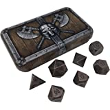 Skull Splitter Dice Gunmetal Brass Color Metal Dice with Black Numbers | Solid Metal Polyhedral Role Playing Game (RPG) Dice Set (7 Die in Pack) with Dwarven Chest Dice Case