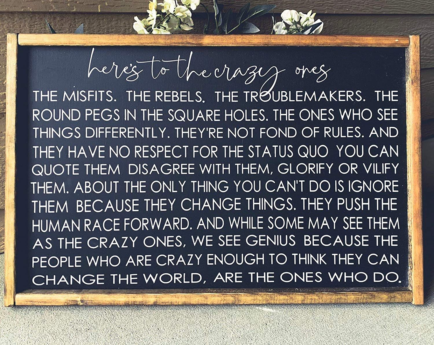 bawansign Farmhouse Wall Decor Steve Jobs Quote Signs with Quotes Signs  Signs for Home Farmhouse Sign Heres to The Crazy Ones