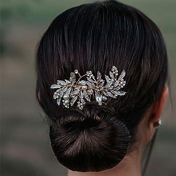 SWEETV Bridal Hair Comb Clip Rhinestone Rose Gold Wedding Hair Accessories For Women Bride /& Bridal Girl