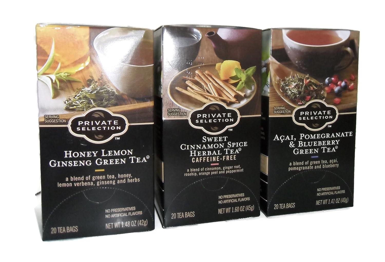 Private Selection Honey Lemon Ginseng Green Tea, Sweet Cinnamom Spice Herbal Tea, Acai Pomegranate & Blueberry Green Tea 1 Box Of Each 20 Per Box