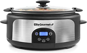 Elite Gourmet Glas Slow Cooker with Adjustable Temp, Entrees, Sauces, Stews & Dips, Dishwasher Safe Glass Lid & Crock, 6 Quart, Stainless Steel