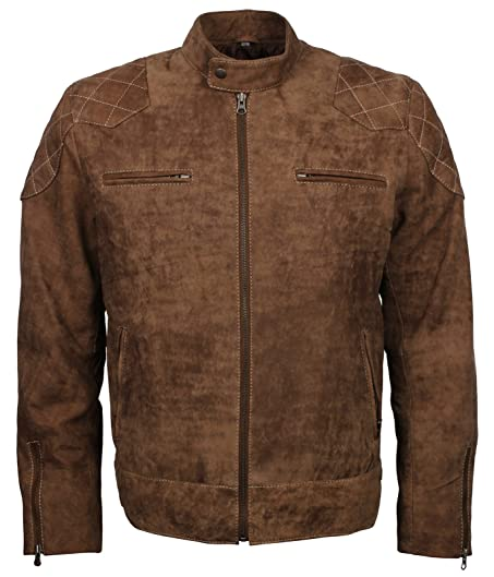 Distressed retro Biker Classic Mens Real Leather Brown Quilted ... : mens brown quilted jacket - Adamdwight.com