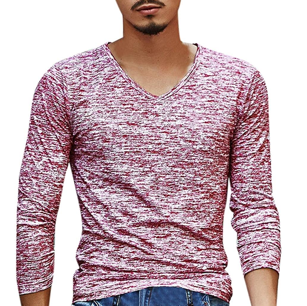 YANG-YI Mens Clearance Solid V Neck Long Sleeve T-Shirt Top Slim Sport Blouse