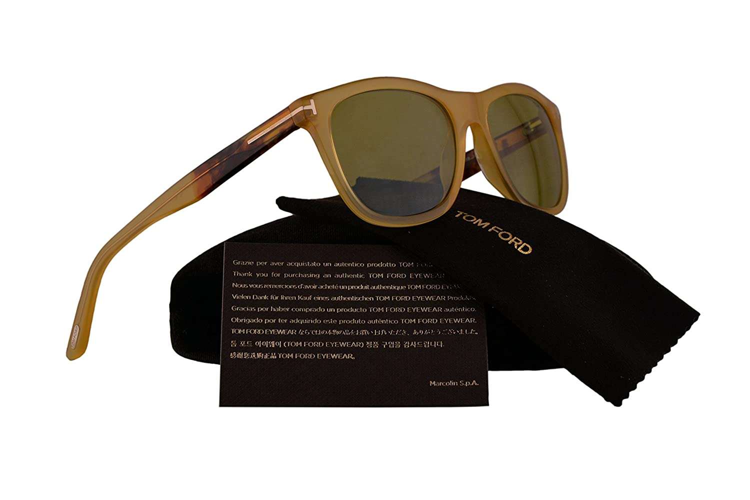 a03ac0d917 Amazon.com  Tom Ford FT0500 Andrew Sunglasses Yellow Crystal w Green Lens  41N TF500  Clothing