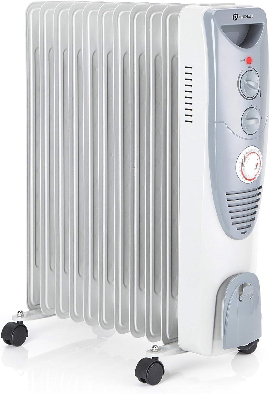 PureMate Radiador de Aceite 2500W - 11 Elementos, 3 Configuraciones de Calor, Temporizador y Termostato: Amazon.es: Hogar