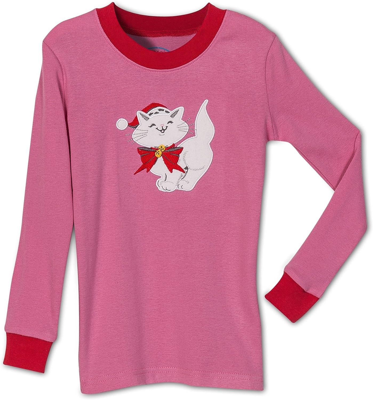 Kids Sizes 2-14 Saras Prints Girls Holiday Christmas Cat 2 Piece Pajama Set