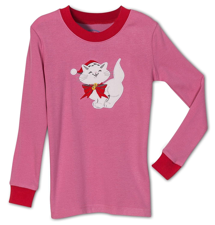 Amazon.com  Sara s Prints Girls  Holiday Christmas Cat 2 Piece Pajama Set a2b91d656